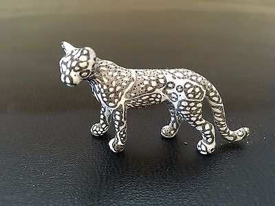 """cheetah figurine/statue, black and white polymer, standing, 2"""" long"""