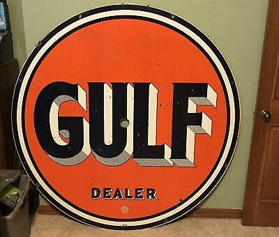 "Gulf Dealer Sign Gas Oil 2 Sided Porcelain Original 66"" Inches HUGE"