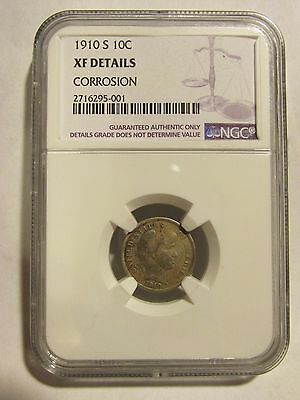 1910 S Barber Dime  Ngc  Xf Details Corrosion