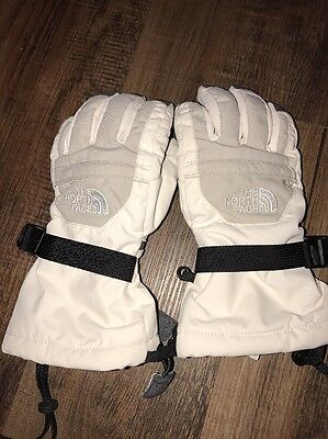The North Face HyVent Winter Ski Gloves Girls Youth Small White Grey S/P