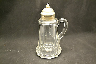 Antique glass syrup jug with pewter lid  ND0718
