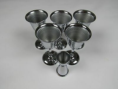 "5 silver metal Colonial Water Wine Goblets 5 1/2"" & Stainless Steel Bar Jigger."
