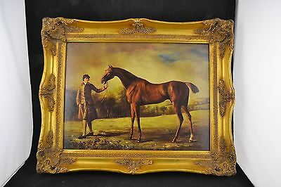 Vtg English Print of 18th Century Horse & Groom Carvers & Guilders     ND1922