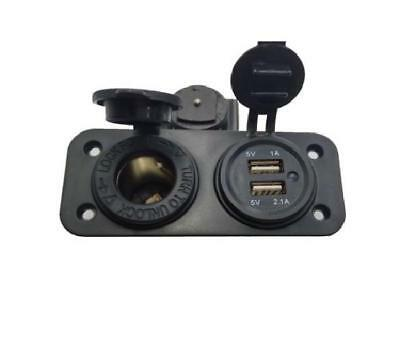12V Waterproof Car Motorcycle Dual USB Adapter And Cigarette Lighter Plug, Phone