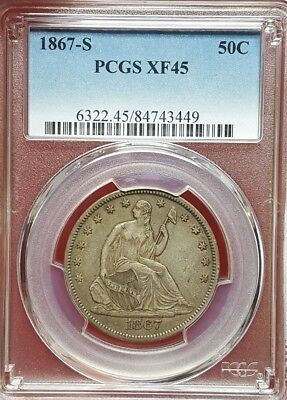 1867-S Seated Liberty Half Dollar, PCGS XF 45, Better Date
