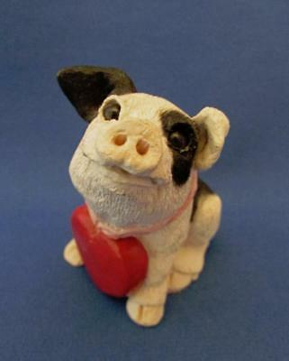 Black & White Pig With Heart Necklace Hand Painted Figurine