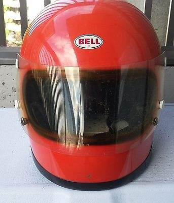Vintage 1970 Bell Star Toptex size 7 1/8 Snell Helmet orange with chin strap