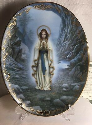 Bradford Exchange Visions Of Our Lady of Lourdes Plate Virgin Mary Queen
