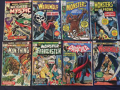 SILVER/BRONZE LOT OF 8 MARVEL HORROR COMICS with affordable KEYS- 1st GROOT