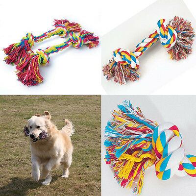 1x Cotton Braided Bone Rope Chew Knot Play Games For Puppy Dog Pet Toy
