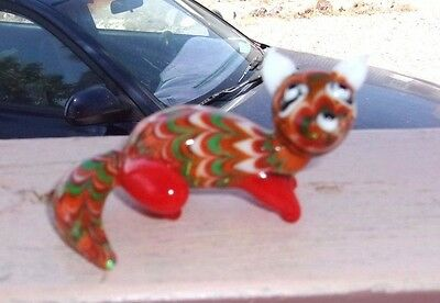 Fitz and Floyd Glass Menagerie Blown Glass Wide Eyed Fox Figurine