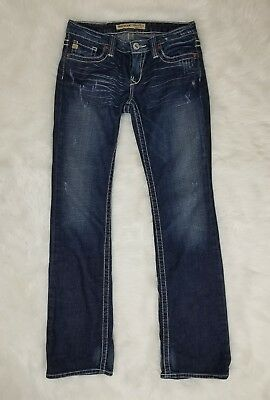 Big Star Sweet Boot Ultra Low Rise Women Stretch Jeans Distressed Sz 28 Long