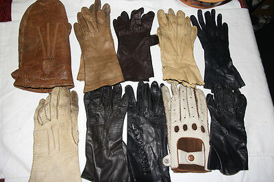 9 Pairs Vintage Black Brown Tan Leather Gloves & 1 Pair Leather Mittens Costumes