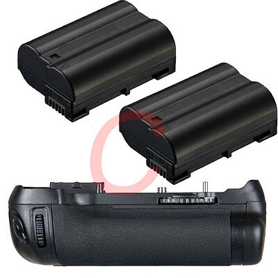 Battery Grip Pack Holder For Nikon D600 D610 SLR Camera + 2x EN-EL15  Batteries
