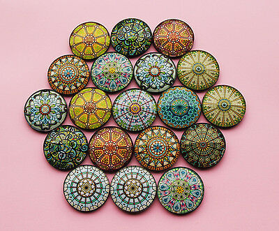Mandala Yoga Glass Cabochon Fridge 3cm Magnets - Gift for Yogi Hipsters