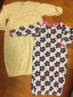 Lot Of 2 Baby Girl Sleeping Gowns Carter's Gerber GUC