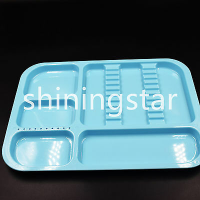 Dental Sterilized Divided Tray Plastic Separate Instrument 245x340x2mm Blue Hot