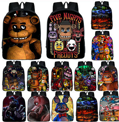 Five Nights At Freddy's Freddy Backpack Chica Foxy Bonnie FNAF Shoulder Bag 17""