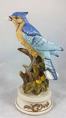 """Vintage Porcelain Blue Jay Figurine Bird On Branch 6"""" Tall Gold Painted Base EUC"""
