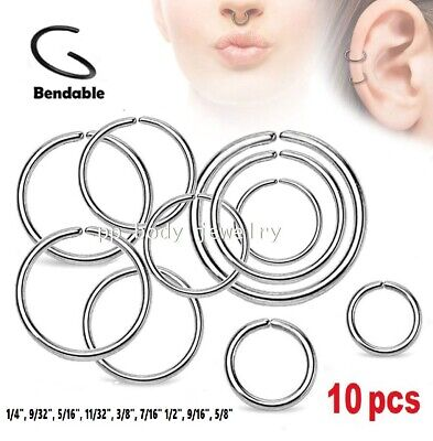 10pcs Wholesale Surgical Steel Seamless Hoop Nose Ring Labret Septum Ears Tragus