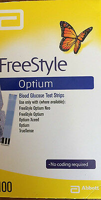 1 box of 100 ABBOTT FREESTYLE OPTIUM BLOOD GLUCOSE TEST STRIPS No Overseas post