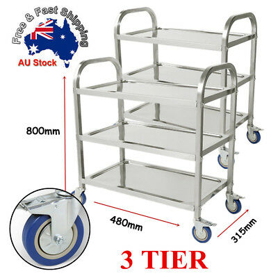 Stainless Steel Kitchen Trolley Cart 3Tiers Dining Food Utility Catering Medium