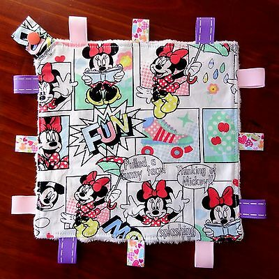 Minnie Mouse Mini Size TaGgie Security Blanket Toy comforter Dummy clip Holder