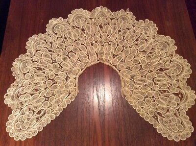 Antique Victorian Edwardian Style Hand Made Ivory Silk Long Lace Collar Cape