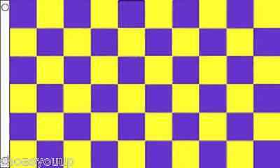 Purple and Yellow Check Flag 5ft x 3ft (150cm x 90cm) flag Banner