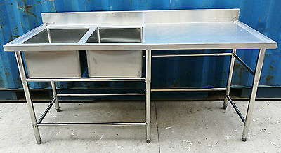 Brand New Commercial Stainless Steel Double Sink 1800x700x900 + 100mm splashback
