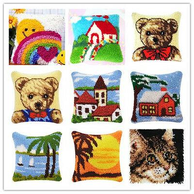 GEX Latch Hook Kits Ainmal Cushion Cover 16by16inch DIY Craft Needle Kit