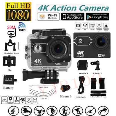 170° HD Wide-Angle Waterproof WiFi Sport Action Camera 1080P 4K Travel Camcorder