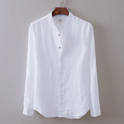 UK Stock Casual Mens Long Sleeve Breathable Cotton Linen Shirt Tops V Neck