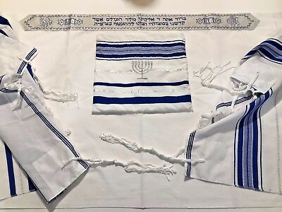 "Messianic Acrylic prayer shawl tallit Blue-Silver + Bag 24""X67"" 100 Kosher"