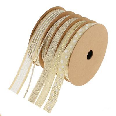 5 Rolls Mixed Natale Glitter Mesh Wired Ribbon Bakers Twine per confezione