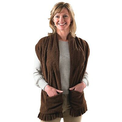 Heated Shawl Indoor Battery Powered Soft Fluffy Warm Polyester Chocolate Brown
