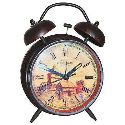 Vintage Rustic Antique Style Alarm Clock Two Bells Ring Light Roman Numeral