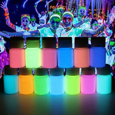 12 Bottle Neon Luminous Acrylic Paint Glow in the Dark Pigment Set + 2 Brush Set