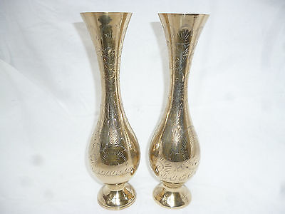 VINTAGE RETRO PAIR of TALL BRASS VASES with ENGRAVED PATTERN - 30cm high
