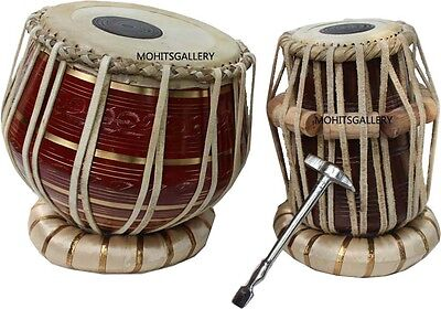 Tabla Trommel Beste Messing Bayan Farbiges Rot Dayan Ring,Hammer,Box Schiff frei