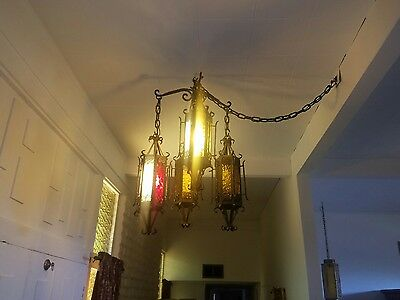 Vintage Wrought Iron stained Glass Chandalers