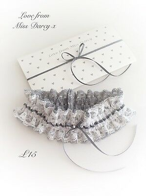 Bridal Garter Ivory Grey Lace  Bow Love from Miss Darcy Wedding Brides Hen