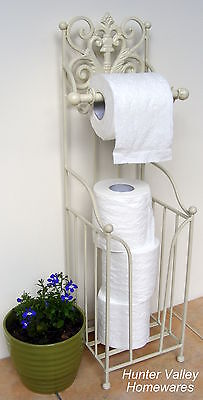 Rustic Metal Toilet Roll Holder Storage Stand French Free Standing - Cream BA93