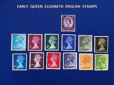 3 X13 ENGLISH 39 STAMPS GB UNSORTED QUEEN ELIZABETH 1/2p- 12p USED