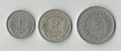 France trio of old French aluminium coins 1, 2 & 5 Francs 1948 & 1949 post WWII