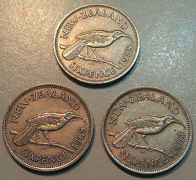 NZ 3 x sixpence coins 1958 1964 1965 predecimal New Zealand pieces all QEII