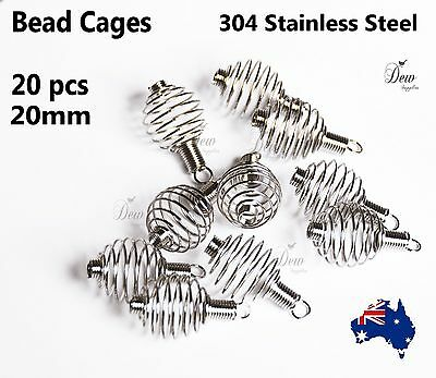 20 x Stainless steel bead cage pendant spiral beads holder PREMIUM QUALITY
