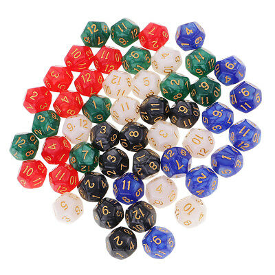 50 Pieces D12 Dice 16mm 12 Sided Die w/ Dice Bag for D&D Role Playing Games
