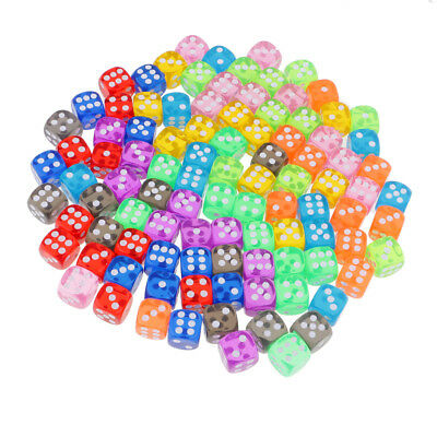 100 Pcs 16mm D6 Dice Transparent Six Sided Die with Dice Bag for D&D Games