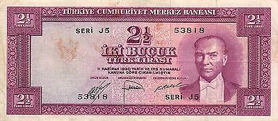 Turkey  2  1/2  18.7.1947  P 150a  Series  J5  Circulated Banknote EA3EL